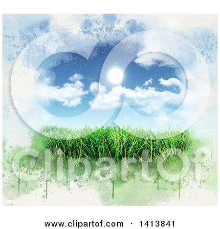 Clipart of 3d Green Grass Under a Blue Sky with the Sun and Clouds, Bordered in Grunge - Royalty Free Illustration by KJ Pargeter