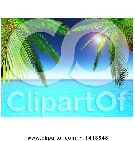 Clipart of 3d Palm Trees Framing Blue Ocean and Horizon - Royalty Free Illustration by KJ Pargeter