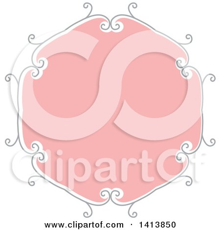 Clipart of a Retro Pink and Gray Frame Design Element - Royalty Free Vector Illustration by KJ Pargeter