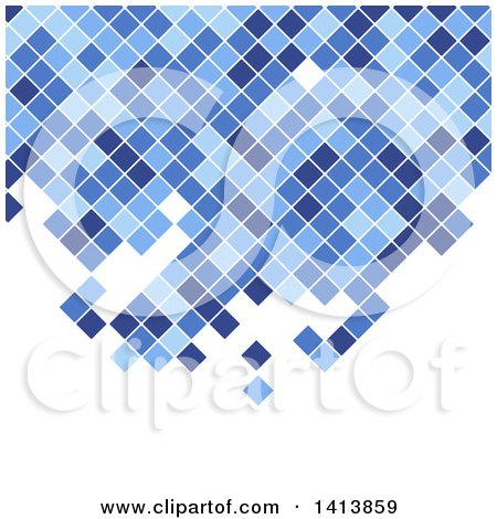 Clipart of a Background of Blue Mosaic Pixels or Tiles on White - Royalty Free Vector Illustration by KJ Pargeter