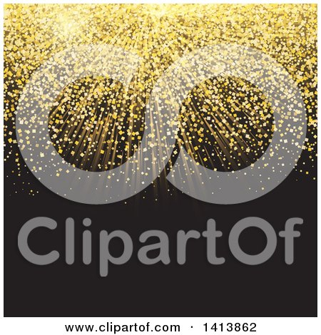 Clipart of a Golden Glittery Burst on Black - Royalty Free Vector Illustration by KJ Pargeter