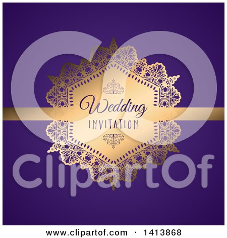 Clipart of a Gold Frame Wedding Invitation Design on Purple - Royalty Free Vector Illustration by KJ Pargeter