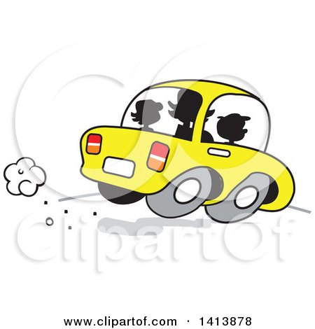 Clipart of a Silhouetted Busy Mom on the Road with Her Two Kids in the Car - Royalty Free Vector Illustration by Johnny Sajem