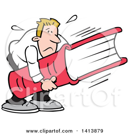 Clipart of a Cartoon Caucasian Man Frowning and Carrying a Huge Book, Heavy Reading - Royalty Free Vector Illustration by Johnny Sajem