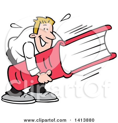 Clipart of a Cartoon Caucasian Man Smiling and Carrying a Huge Book, Heavy Reading - Royalty Free Vector Illustration by Johnny Sajem