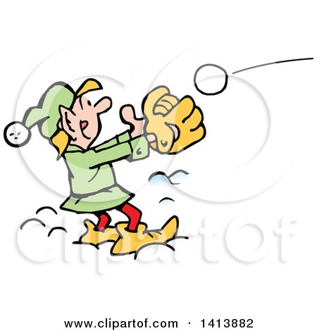 Clipart of a Cartoon Christmas Elf Playing Catch - Royalty Free Vector Illustration by Johnny Sajem