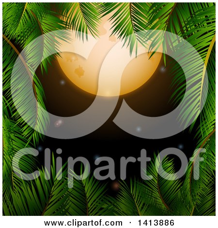 Clipart of a Border of Palm Tree Branches Framing a Full Moon and Night Sky - Royalty Free Vector Illustration by elaineitalia