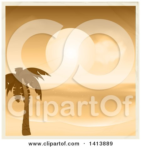 Clipart of a Sepia Toned Tropical Sunset over the Ocean and a Palm Tree on a Beach, Bordered in Tan - Royalty Free Vector Illustration by elaineitalia