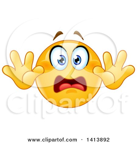 Clipart of a Cartoon Yellow Smiley Face Emoji Emoticon Surrendering in Fear - Royalty Free Vector Illustration by yayayoyo