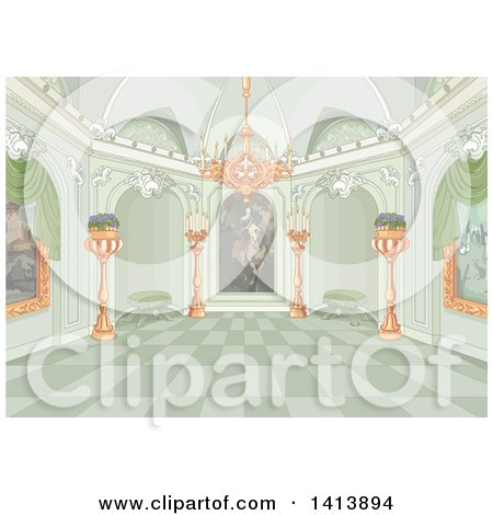 Clipart of a Green Toned Palace Interior with Paintings and a Chandelier - Royalty Free Vector Illustration by Pushkin