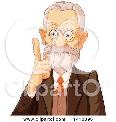 Clipart of a Senior Male Phycologist Holding up a Finger - Royalty Free Vector Illustration by Pushkin