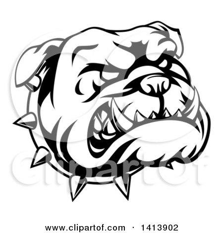 Clipart of a Black and White Snarling Bulldog Face and Spiked Collar - Royalty Free Vector Illustration by AtStockIllustration