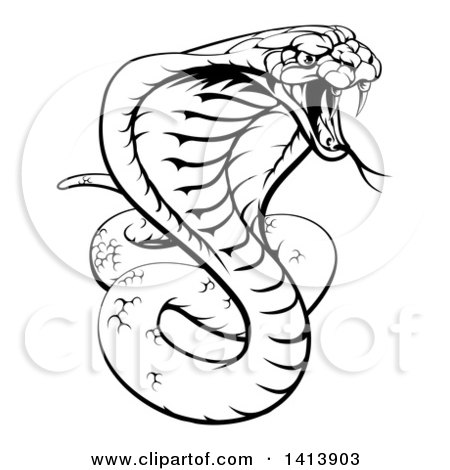 Clipart Of A Black And White Lineart Angry King Cobra Snake Ready To