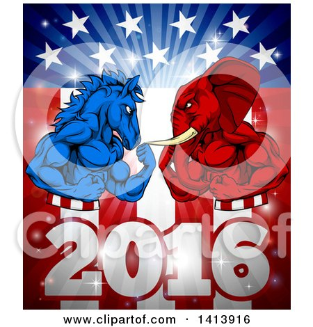 Clipart of a Political Aggressive Democratic Donkey or Horse and Republican Elephant Flexing over a 2016 American Flag and Burst - Royalty Free Vector Illustration by AtStockIllustration