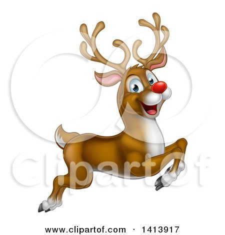 Clipart of a Happy Rudolph Red Nosed Reindeer Leaping or Flying - Royalty Free Vector Illustration by AtStockIllustration