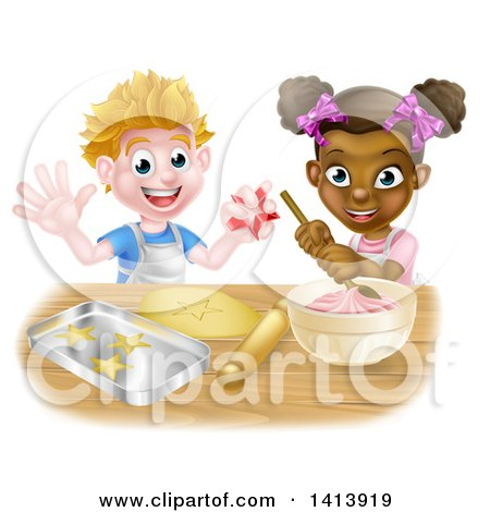 Clipart of a Happy White Boy Making Making Star Cookies and Black Girl Making Frosting - Royalty Free Vector Illustration by AtStockIllustration