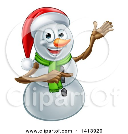 Clipart of a Happy Snowman Wearing a Christmas Santa Hat and Pointing - Royalty Free Vector Illustration by AtStockIllustration