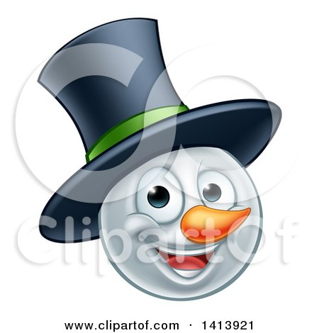 Clipart of a Happy Winter Christmas Snowman Face with a Top Hat - Royalty Free Vector Illustration by AtStockIllustration