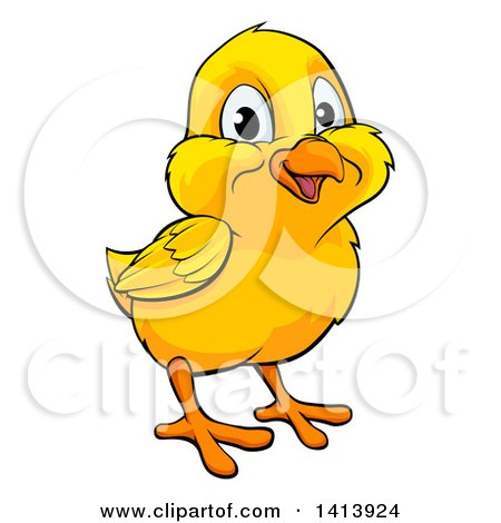 Clipart of a Cartoon Cute Happy Yellow Easter Chick - Royalty Free Vector Illustration by AtStockIllustration