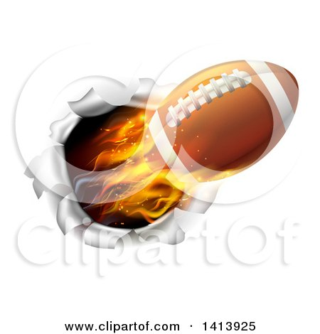 Clipart of a 3d Flying Flaming Football Breaking Through a Wall - Royalty Free Vector Illustration by AtStockIllustration