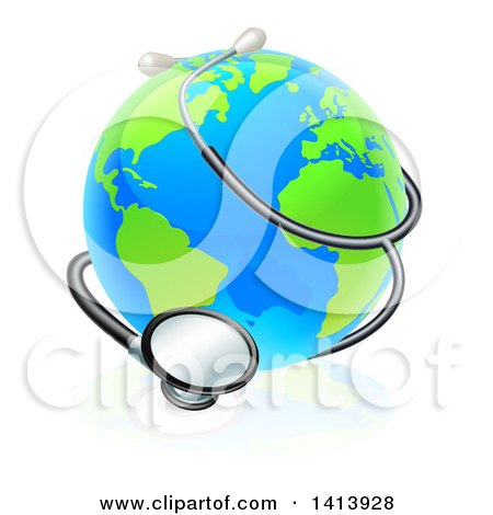 Clipart of a World Earth Globe Wrapped in a Stethoscope - Royalty Free Vector Illustration by AtStockIllustration