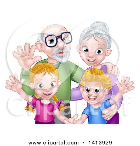 Clipart of Happy Caucasian Grandparents and Grandchildren Waving - Royalty Free Vector Illustration by AtStockIllustration