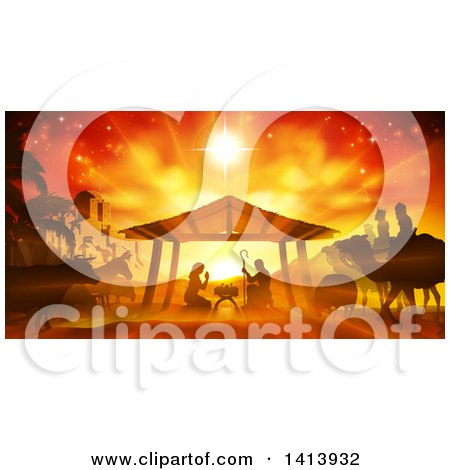 Clipart of an Orange Toned Nativity Scene with Animals, Wise Men, the City of Bethlehem and Star of David - Royalty Free Vector Illustration by AtStockIllustration