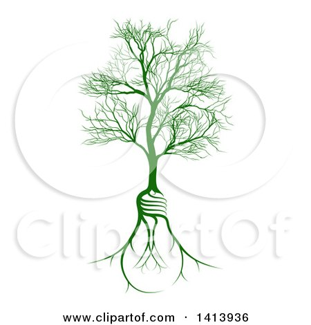 Clipart of a Bare Tree with Light Bulb Shaped Roots - Royalty Free Vector Illustration by AtStockIllustration