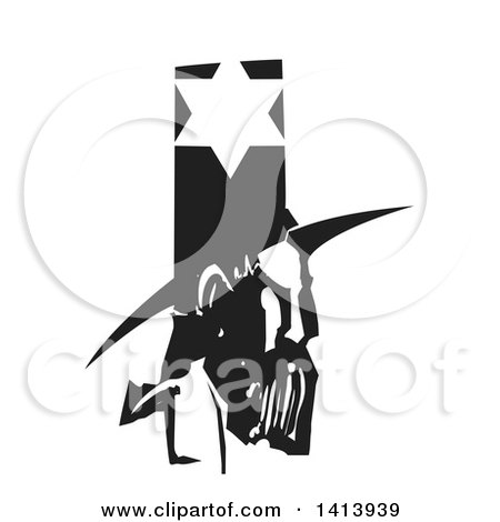 Clipart of a Black and White Woodcut Profile Portrait of a Medieval Jewish Man Under a Star - Royalty Free Vector Illustration by xunantunich