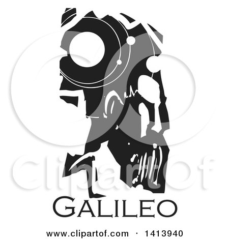 Clipart of a Black and White Woodcut Profile Portrait of a Man, Galileo Galilei, Astronomer - Royalty Free Vector Illustration by xunantunich