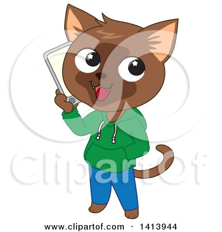 Clipart of a Happy Brown Cat Boy Wearing Clothes and Talking on a Smart Phone - Royalty Free Vector Illustration by Rosie Piter