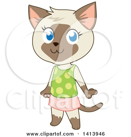Clipart of a Cute Siamese Kitty Cat Girl in a Skirt and Tank Top - Royalty Free Vector Illustration by Rosie Piter