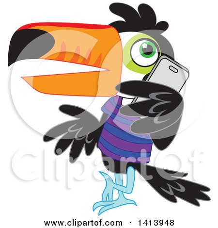 Clipart Of A Toucan Bird Wearing A Shirt Leaning And Talking On A Smart Phone Royalty Free Vector Illustration
