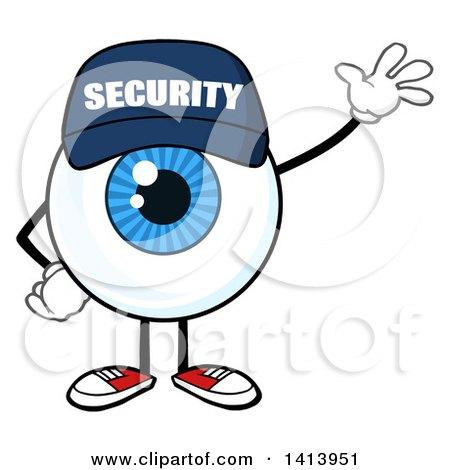 Clipart of a Cartoon Security Guard Eyeball Character Mascot Waving - Royalty Free Vector Illustration by Hit Toon