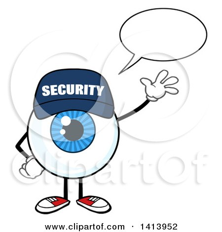 Clipart of a Cartoon Security Guard Eyeball Character Mascot Talking and Waving - Royalty Free Vector Illustration by Hit Toon