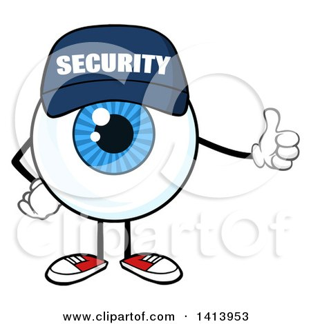 Clipart of a Cartoon Security Guard Eyeball Character Mascot Giving a Thumb up - Royalty Free Vector Illustration by Hit Toon