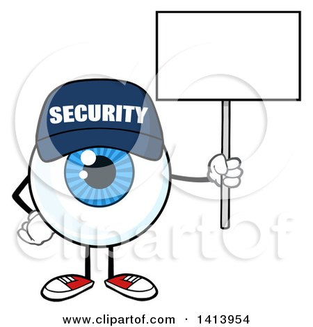Clipart of a Cartoon Security Guard Eyeball Character Mascot Holding a Blank Sign - Royalty Free Vector Illustration by Hit Toon