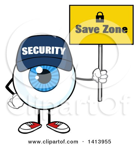 Clipart of a Cartoon Security Guard Eyeball Character Mascot Holding a Save Zone Sign - Royalty Free Vector Illustration by Hit Toon