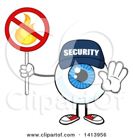 Clipart of a Cartoon Security Guard Eyeball Character Mascot Gesturing and Holding a No Fire Sign - Royalty Free Vector Illustration by Hit Toon