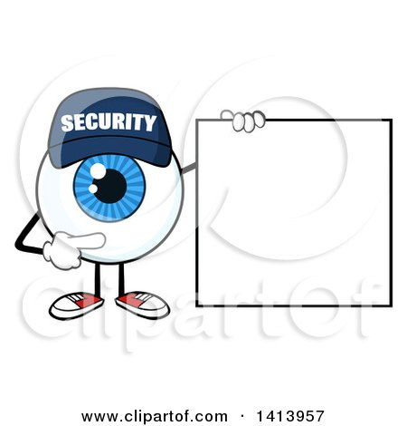 Clipart of a Cartoon Security Guard Eyeball Character Mascot Pointing to a Blank Sign - Royalty Free Vector Illustration by Hit Toon