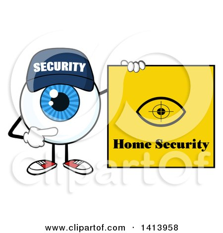 Clipart of a Cartoon Security Guard Eyeball Character Mascot Pointing to a Home Security Sign - Royalty Free Vector Illustration by Hit Toon