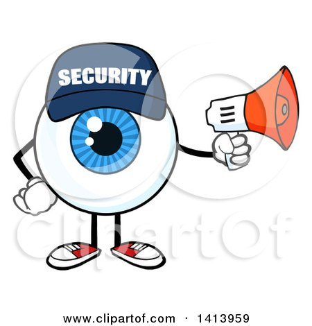 Clipart of a Cartoon Security Guard Eyeball Character Mascot Using a Megaphone - Royalty Free Vector Illustration by Hit Toon