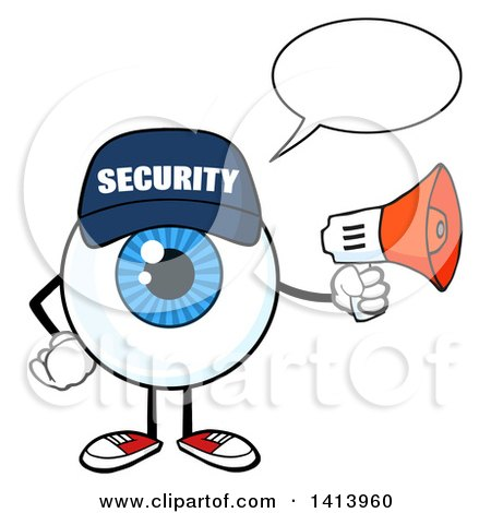 Clipart of a Cartoon Security Guard Eyeball Character Mascot Talking and Holding a Megaphone - Royalty Free Vector Illustration by Hit Toon