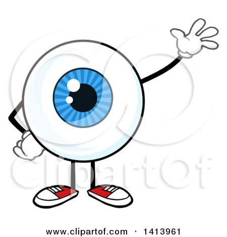 Clipart of a Cartoon Eyeball Character Mascot Waving - Royalty Free Vector Illustration by Hit Toon