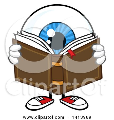 Clipart of a Cartoon Eyeball Character Mascot Reading a Book - Royalty Free Vector Illustration by Hit Toon