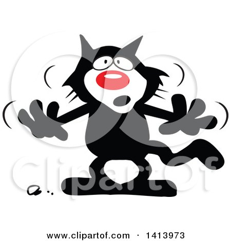 Clipart of a Cartoon Superstition Black Cat - Royalty Free Vector Illustration by Johnny Sajem