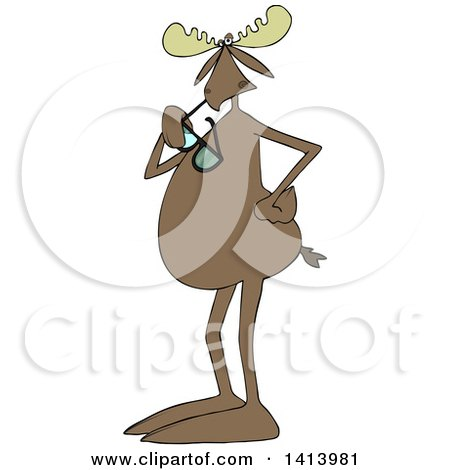 Clipart of a Cartoon Moose Standing Upright and Chewing on Sunglasses - Royalty Free Vector Illustration by djart