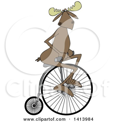 Clipart of a Cartoon Moose Riding a Penny Farthing Bicycle - Royalty Free Vector Illustration by djart