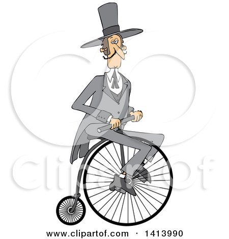 Clipart of a Cartoon Caucasian Gentleman Riding a Penny Farthing Bicycle - Royalty Free Vector Illustration by djart