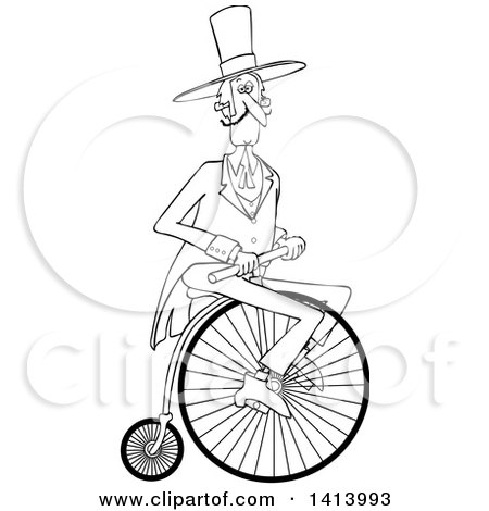 Clipart of a Cartoon Black and White Gentleman Riding a Penny Farthing Bicycle - Royalty Free Vector Illustration by djart